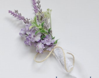 Lavender Boutonniere, Lavender and Wildflower Boutonniere, Purple Boutonniere, Grooms Bout, Groom, Wedding Flowers, Purple Wedding Flowers