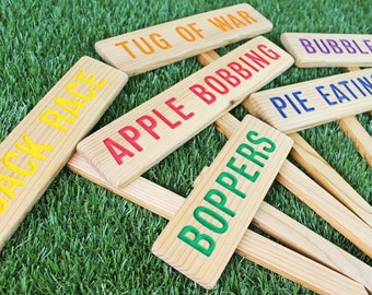 KIDS OUTDOOR YaRD Game Signs, Colorful Wood Signs, Party Signs, Birthday Game Sign, Family Reunion Signs, BBQ Signs
