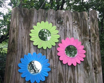 Wall Flower Mirrors - Set of 3 Hanging Round Mirrors Lime Pink Blue