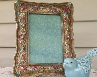 Gold Picture Frame w/Turquoise & Fuchsia Highlights - French Inspired Table top 4 x 6