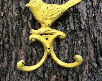 Double Bird Hook / Yellow Jewelry Hanger / Cottage Chic Wall Decor
