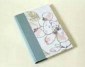 Blue Floral Single Section Hardback Soft Spine - Blank Journal Notebook