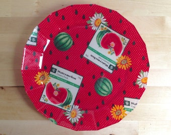 Vintage Country Fresh Watermelon and Daisies Plate - Fabric and Glass
