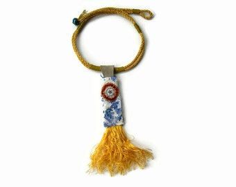Handmade Embroidered Necklace. Textile Necklace. Golden Yellow Fringe Necklace.Statement necklace.