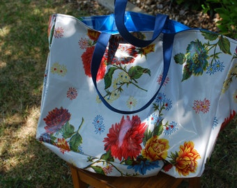 Large Oilcloth Bag, white and blue floral