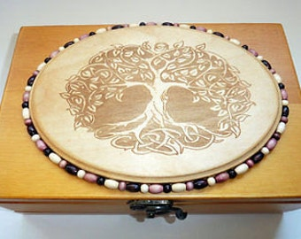 Top Quaility 9x6 Pollen Sifter / Wood burned tree of Life plaque & Beads