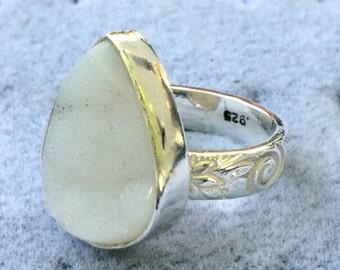 druzy drusy quartz ring silver sterling thick band ring cabachon bezel gift black chunky pretty fashion