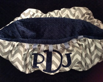 Grey Chevron 3 Initial Shopping Cart Cover or High Chair Cover
