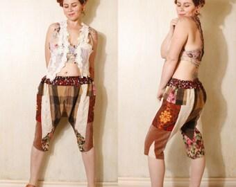 Woman pants Capris pants Harem pants Sarouel Patchwork pants Hippie pants Boho pants Gypsy pants Festival pants  Drop crotch pants