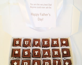 Father's Day Chocolate Box with Card - Personalized Chocolate squares- Unique Gift for Dad
