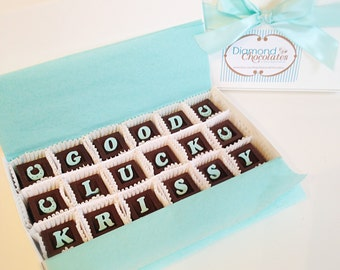Good Luck Chocolate Message - Lucky Chocolate Squares - Unique Gift, New Job Gift, Retirement, Graduation
