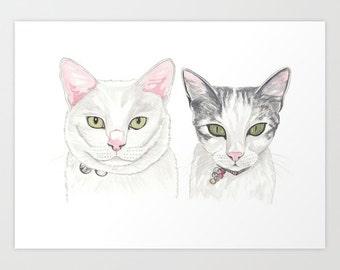 Custom  Pet Portrait. Two pets. Watercolours. Pencils. Handmade art.