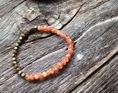 Sensational AAA Quality Sunstone Beaded Bracelet with Antiqued Brass Beads Friendship Bracelet