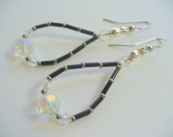 Beaded Dangle Earrings, Black and Clear Beaded Dangle Earrings, Silver Earring, Long Dangle Earring, Womens Jewelry, Silver Earrings