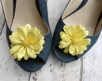 Yellow Bridesmaid Accessory, Yellow Wedding Shoe Clips, Summer Shoe Clips, Yellow Polka Dot Shoe Clips, Everyday Wear Shoe Clips