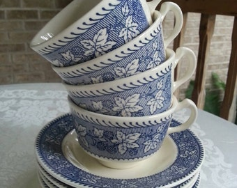 Rare Set of 4 Homer Laughlin Shakespeare Country Cups and Saucers Blue and White with Berries Blue Leaf