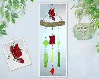 Wind Chime, Stained Glass Chime, Glass Windchime, Stained Glass Butterfly Chime, Garden Decor, Home Decor