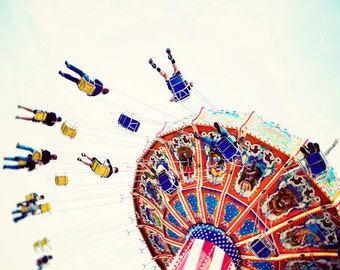 Amusement park photo, Swings, Whimsical photograph, Primary colors, art for child room, Carnival, bright, fun