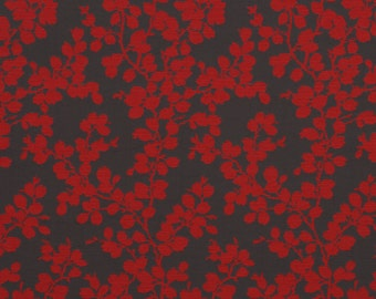 Red Grey Floral Upholstery Fabric for Furniture - Bright Red Throw Pillow Covers with Leaves - Upholstered Headboard - Red Grey Home Decor