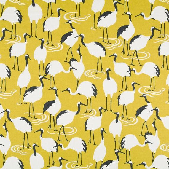 Dark Yellow Bird Upholstery Fabric - Modern Bird Linen Drapery ...