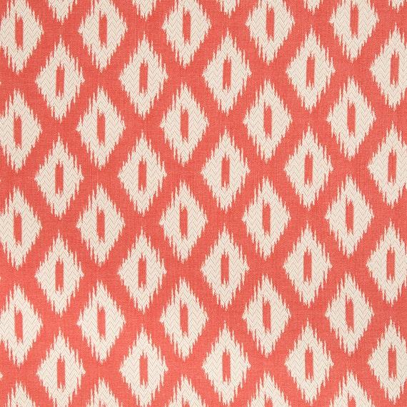 Coral Upholstery Fabric Modern Orange White Geometric Fabric