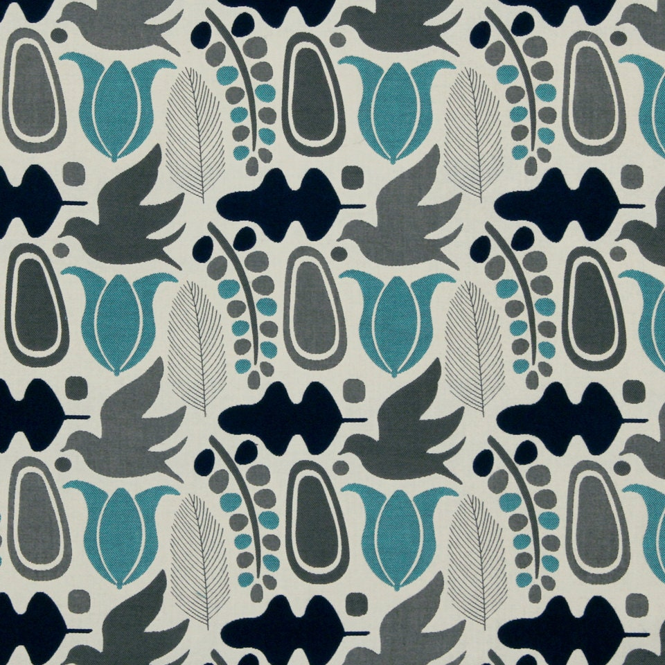 turquoise grey upholstery fabric navy blue bird fabric for. Black Bedroom Furniture Sets. Home Design Ideas