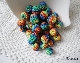12 pcs-10 mm beads-crocheted bead-colorful beads-round beads-crochet ball beads-beads crochet-embellishment-wooden crochet cotton yarn beads