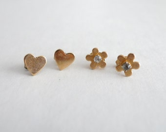 SET of TWO: Gold Heart Studs and Gold Flower with Rhinestones Vintage Earrings