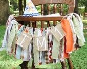 Woodland Creatures Fox Bear Hedgehog Owl Themed Birthday High Chair Fabric Strip Banner Garland