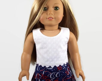 American Doll Clothes - Red, White, and Blue Patriotic Summer Outfit - 18 Inch Doll Clothes - Made to Fit Like American Girl Doll Clothes