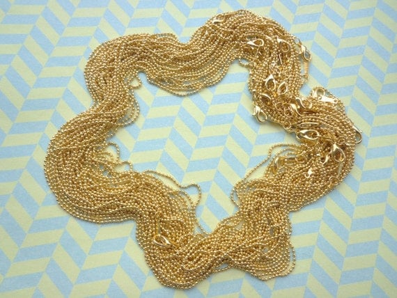 Sale 20pcs 1.5mm 17inch Plated gold ball necklace chain with Lobster Clasp