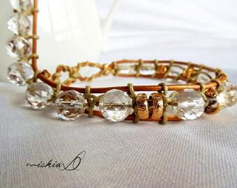 Bracelet, Clear Quartz Bracelet, Natural Quartz Bracelet, Healing Jewelry, Spiritual Bracelet, Double Wrapped Bracelet