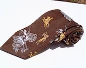 Vintage 1970s Wide Brown Polyester Tie with Orange Paul Revere
