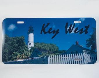 License Plate, Key West Lighthouse Design, Auto Accessory, Photograph, Nautical, Blue