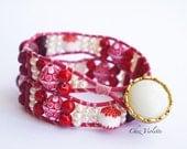 Red two Wrap Bracelet Leather Boho Bead Bracelet Bohemian Jewelry