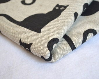 Linen black cat  fabric 19,68 x 59 inch