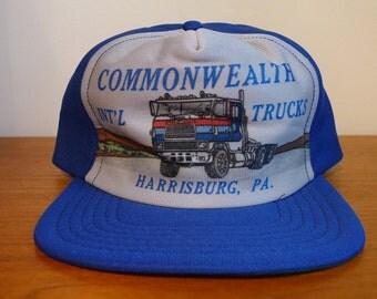 Vintage COMMONWEALTH International Trucker Hat Snapback Adjustable Interstate Highway Harrisburg Pennsylvania