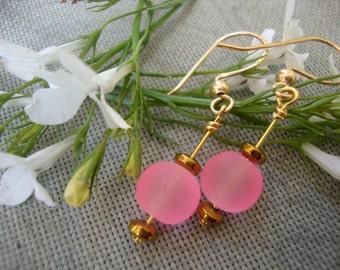 Pink Glass Gold Dangle Earrings