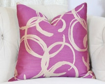 Radiant Orchid Pillow Cover- Magenta Purple and Champagne Gold Geometric Pillow Cover - Modern Throw Pillows - Solid Orchid Pillow