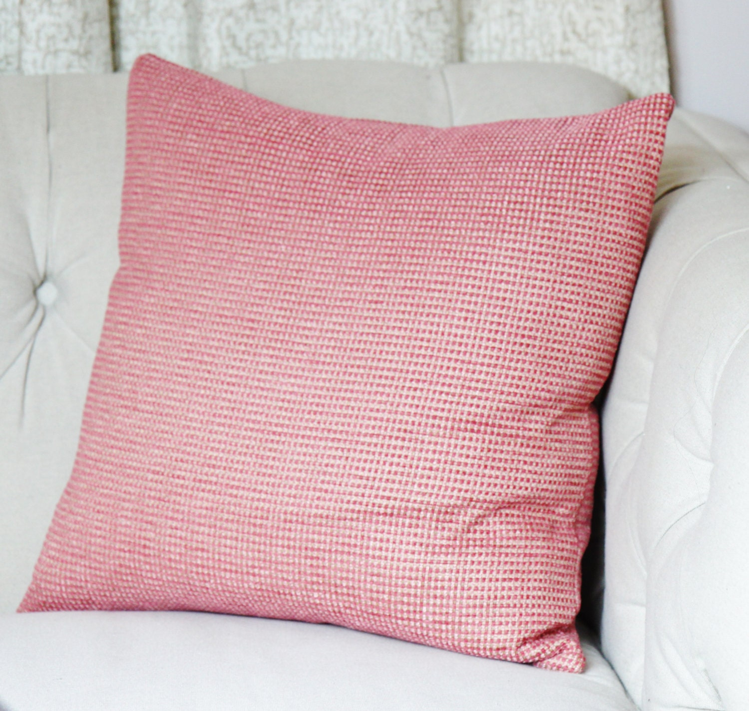 Dark Coral Throw Pillows : Coral Pink Woven Pillow Cover Dark Pink and Light Pink Toss