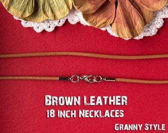 10 Pieces - 18 inch Brown Leather Necklaces with Lobster Clasp