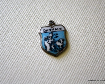 Vintage Travel Charm Enamel and Silver Danmark Shield Charm Denmark Souvenir