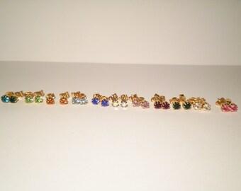 12 Pairs of Assorted Swarovski Birthstone Earrings