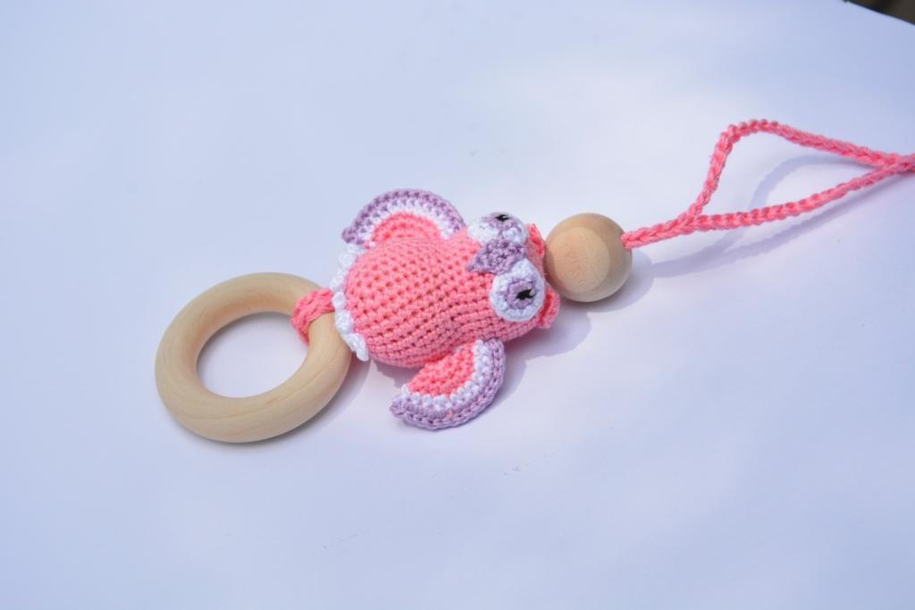 Crochet Owl Pendant Wooden Teething Ring Nursing By