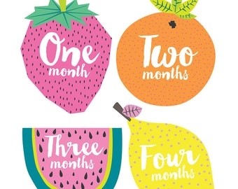 Fruit Baby Monthly Stickers - Gender Neutral Monthly Stickers - Milestone Stickers - Bodysuit Stickers - Set of 12