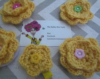 Yellow Gold Crochet Flower Hair Clips