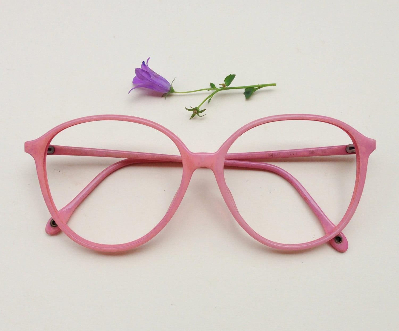 Vintage pink frames / 80s pale pink eye glasses / plastic