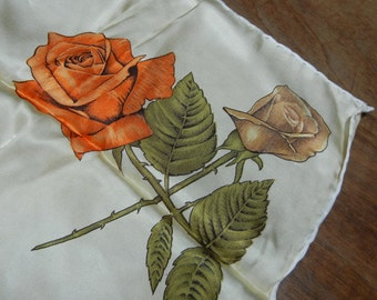 Vintage rose scarf - Made in Italy - NOTE! gold color background!