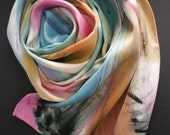Luxury silk scarf, one-of-a-kind,abstract silk, handpainted,gifts for her,womens accessories,pink,sky blue,gold,white,wearable art,under 75
