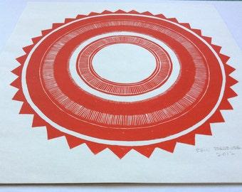 linocut - RED SUN - 12x12 / printmaking / block print / geometric art / contemporary, minimalist / star
